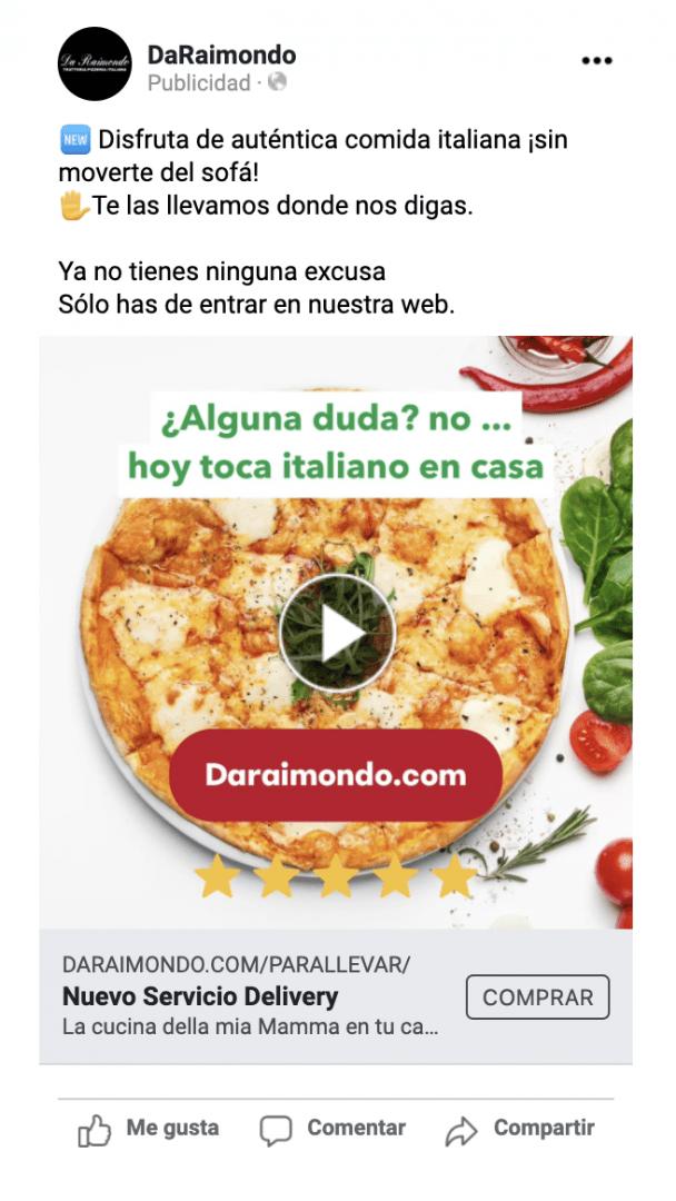 Campaña de Facebook Ads para el restaurante italiano Da Raimondo